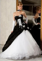 Wholesale 2015 Custom Made New Strapless Applique Lace up Organza Backless Black and White Floor length Wedding Dresses Bridal Gowns BG9