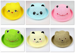 Wholesale Colorful Kids Bucket Hat Candy Children Straw Hat Sunhat Ear Beanie Retail