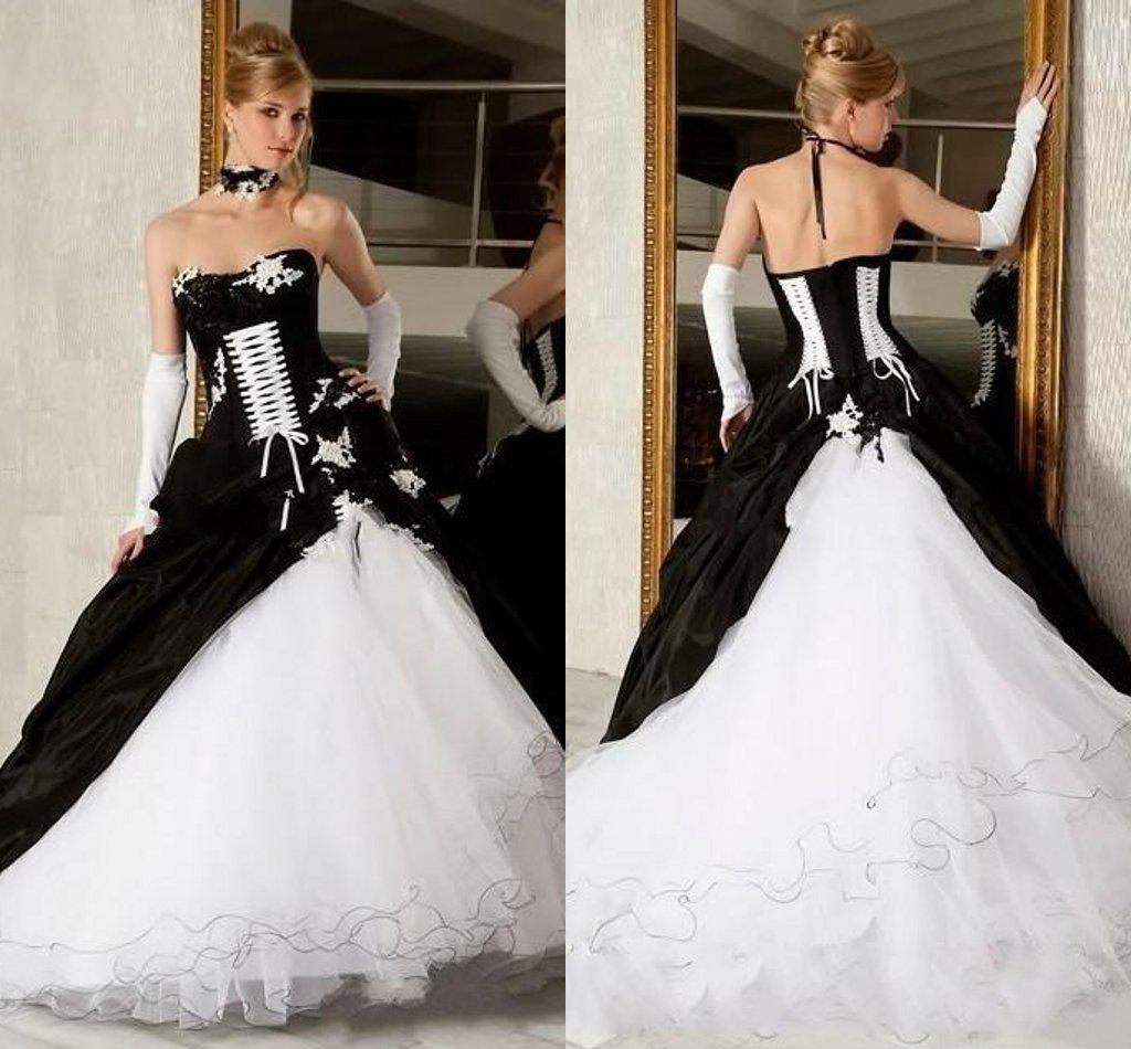 Black And White Ball Gown Gothic Wedding Dresses y