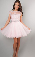 Cheap 2014 New Pink Homecoming Dresses Scoop Neckline Cap Sleeve Lace Tulle Beaded Crystal Rhinestone Sequined Vintage Short Prom Dresses