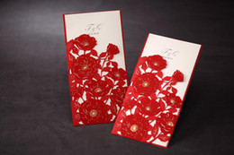 Wholesale 2014 Latest Cards Folded Card Wedding Invitations Cards Tri fold Red Poppies