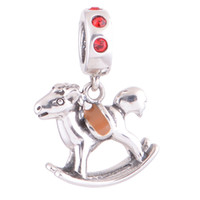 Wholesale Chinese Charm Crystal Silver Jewelry Sets Wooden Horse Dangle Charm fit European Bracelets No YZ372