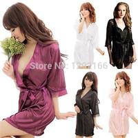 hot robe - 2015 gift HOT Sexy Lingerie SELL Sexy Women s Satin Lace Lingerie Erotic Sleepwear Nightdress Robes Dress WQQ001