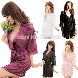 Wholesale 2015 gift HOT Sexy Lingerie SELL Sexy Women s Satin Lace Lingerie Erotic Sleepwear Nightdress Robes Dress WQQ001