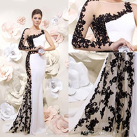 Wholesale Modern mermaid prom dresses white formal evening dresses black applique lace one long sleeve backless floor length prom gowns