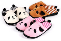 Cheap Wholesale-Fashion soft outsole family warm winter stripe slippers cotton shoes Cartoon panda Indoor warm cotton slippers