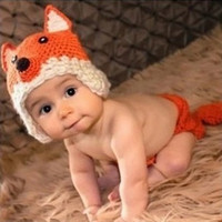 Boy Summer Crochet Hats 3pcs lot Fashion Photo Photography Props Costume Baby Infant Nursling Handmade Knitting Crochet Beanie Animal Fox Hat Caps Set XDT3*3