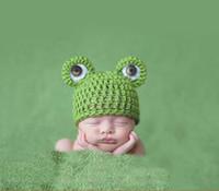 beanie babies frogs - 3pcs Cute Baby Newborn Nursling Photo Photography Props Costume Handmade Crochet Knitted Hat Animal Frog Head Beanie Cap Set XDT36
