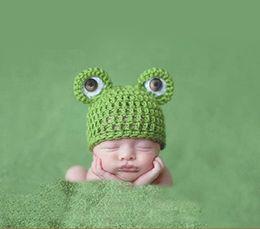 Wholesale 3pcs Cute Baby Newborn Nursling Photo Photography Props Costume Handmade Crochet Knitted Hat Animal Frog Head Beanie Cap Set XDT36