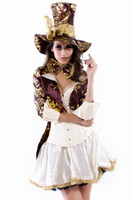 Wholesale 5PCS Deluxe Tea Party Hatter Costume Deluxe medieval sexy women cosplay costume party fancy dress plus size XL