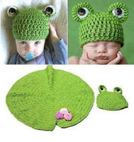 Summer autumn leaf photos - 3pcs Cute Baby Newborn Nursling Photo Photography Props Costume Handmade Crochet Knitted Hat Green Lotus Leaf Beanie Cap Set XDT37