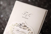 Wholesale 2014 Latest Ivory Pink Wedding Invitations Cards Embossed Flower Exquisite Free Personalized