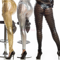 gold leggings - Hot Women Punk Style Gold Silver Legging Novelty Skinny Fish Scale Leggings Sexy Clubwear Trousers Ankle Length Pencil Pants SV001472