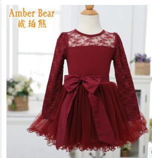 Children Christmas Party Dress Fall New Girls Bow Lace Long Sleeve ...