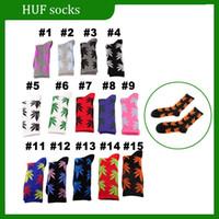 Wholesale HUF plantlife socks streetwear Stockings Fashion men women cotton Socks sport sock hemp leaf socks thick thread many colors