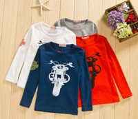 motorcycle shirt - Autumn Boys Motorcycle Printed Long Sleeve T Shirts Cotton Pullover Shirt Children Clothes Child Casaul Clothing White Red Gray Navy M1376