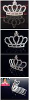 Cheap Shining Wedding Bridal Crystal Veil Tiara Crown Headband Wedding Crown Bridal Jewelry Wedding Crowns Hair Accessories