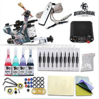 Wholesale 74pcs set colors Starter Set of Tattoo Equipment Beginner Tattoo Machine Kit