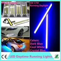 Wholesale LED daytime running light Waterproof cob cm leds Black Frame W V Car Running daylight cob Strip auto day time lights in stock