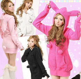 Wholesale Super Cute Women s Bunny Ears Sweatshirts Japan and Korean Fashion Lady Winter Warm Long Sleeve Cotton Hoodies Coat Outerwear