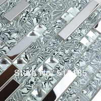 Wholesale stainless steel metal crystal glass mosaic mirror tile pattern decorative floor tile