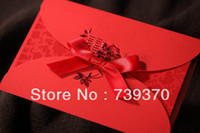 Cheap 100pcs Chinese Style Red Wedding Invitations with Ribbon&Envelope&Printing Invitation Card Customize Cards Free Shipping