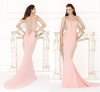 Wholesale 2015 Tarik Ediz Pink Dresses Sheer V Neck with Beads Hollow Back with Pearls Low Waist Fish Tail Elegant Velvet Evening Gown Sexy Long dress