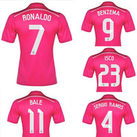 pink jersey - Whosales Madrid Jersey Football Jerseys Away pink Cristiano Ronaldo Bale James Kroos Soccer Jerseys Top Thai Quality