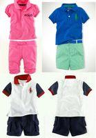 Cheap Wholesale-Hot Sale Baby Boys Girls POLO tracksuits Cool Lapel shirt + shorts sets Casual pants Kids clothes suits sets Sports set shirts