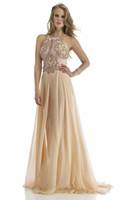 Wholesale Sheath Spaghetti Strap Evening Dresses Jeweled Chiffon Backless Applique Sequin Rhinestone Crystal Beaded Encrusted Evening Dress
