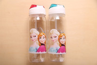 plastic water bottle sports - 2014 High Quality Drinkware Frozen Anna and Elsa PP Texture Suction Cups Kids Cartoon Water Bottle Sports Bottle A