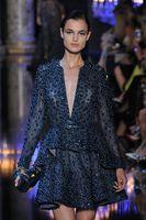 Удивительные Luxury 2015 Elie Saab Взлетно-посадочная полоса V-образным вырезом-линии тафты Темно-синий коктейльное платье с длинным рукавом официально мантии вечера