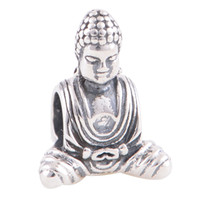 Wholesale 925 Silver Charms Crystal Beads Silver Buddha Silver Charm fit European Bracelets No YZ386