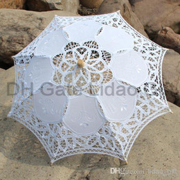 Wholesale Chic white wedding bridal accessories Battenberg Lace Parasol Sun Cotton Umbrella in Handmade for Girls Brides Parasols