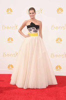 Wholesale 2014 th Emmy Awards Red Carpet Celebrity Dresses Strapless Sleeveless A Line Floor Length Bow Elegant Prom Evening Gown
