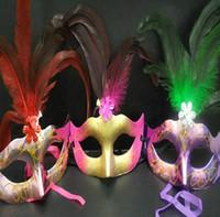 Wholesale LED Party Hallowmas Mask Face Mask Novelty RGB Flash Mask Gold Powder Princess Feather Mask PVC Masquerade Venetian Masks New Holiday Mask