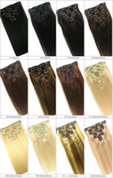 Wholesale 20 quot quot quot quot Full Head thickest g Remy Clip in Human hair extension Black Brown Blonde Optional