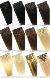 """Extensión del pelo humano clip de la cabeza llena en venta-20 """"22"""" 24 """"26"""" Cabeza llena 160g más grueso Clip de Remy en extensión del pelo humano Negro, marrón, rubio Opcional"""
