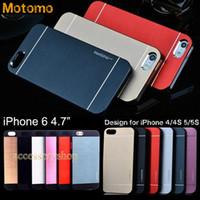 Metal aluminium skin iphone - 4 quot iPhone6 MOTOMO Metal PC Case For iPhone S S New Design Colorful Brushed Pattern Cover Slim Aluminium Alloy Back Skin