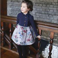Cheap 2014 Korean girls princess flower dresses dress children long sleeve one-piece kids autumn clothing wholesale pink navy gmy