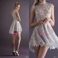 Wholesale 2015 New Sexy Lace Cocktail Dresses With High Neck Cap Sleeve Sheer Back A Line Short Mini Paolo Sebastian Prom Party Pageant Gowns