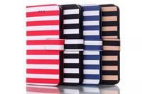 achat en gros de wallet case-Cas Stripes style iPhone 6 étui en cuir de luxe iPhone6 Wallet PU couvrir avec Cas de téléphone cellulaire Stand Livraison gratuite