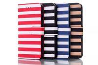 Estilo iPhone Rayas 6 Caso de cuero de lujo iPhone6 carpeta de la PU de la cubierta casos con las cajas del teléfono celular del soporte Envío Gratis
