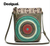 Wholesale Spain DESIGUAL female openwork embroidery retro canvas shopping bag Desigual portable shoulder messenger bag