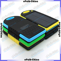 Wholesale 5000mAh Dual USB Port Solar Charger External Battery Power Bank With Retail Box For iPhone iPad Mobile Phone Smartphone