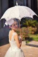 Wholesale 100 Cotton Lace Embroidery Ladies Parasol Bridal Umbrella and Hand Fan for Wedding Decoration Shooting Props Lace Wedding Fans