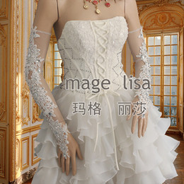 Wholesale 2014 New Modern Long Bridal Gloves with Applique Beads Lace Sheer Tulle Above Elbow Length Wedding Accessories For Bride High Quality CGL261