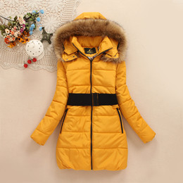 Wholesale The new heavy hair collar coat long large size women s clothing down jacket cotton padded clothes can Removable cap
