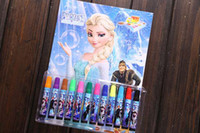 Wholesale Hot sell Froze color water color brush princess color pen children draw tool set Christmas gifte