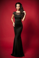 Cheap Sexy Cheap Black Satin Mermaid Lace Cap Sleeve Crew Neckline Evening Dresses Formal Gowns N322